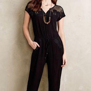 Anthropologie Lilka Laced Black Jumpsuit Size M